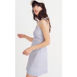 Madewell Gingham Tie Strap Mini Dress